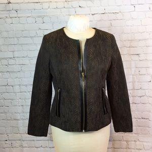"""Dana Buchman  brn """"snake skin"""" zipper box jacket"""